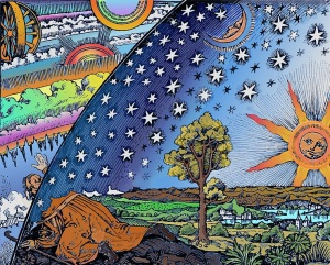Discovering New Realms -- Flammarion Woodcut 1888